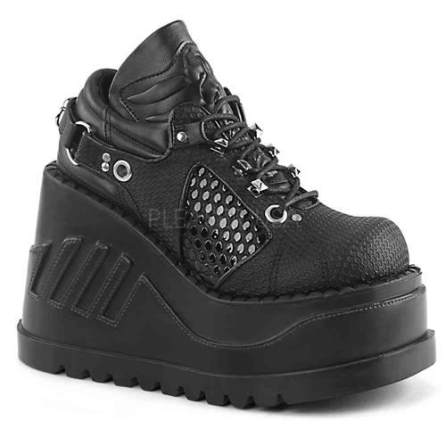 f356f641a00 Demonia Neptune-100 glitter unisex plateau sneakers met spikes zwart