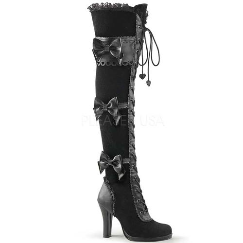 3810a276fe1 Glam-300 high lolita boots with lace up and bow detail black vegan leather