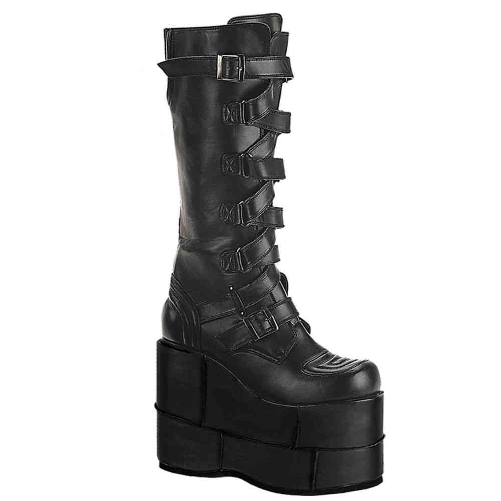 b371fb3c3edc5 Demonia Stack-308 black matt gothic, cyber long boot with extreme plateau  sole and buckles