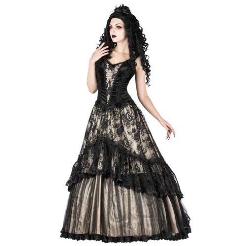 96c43357271559 Sinister Sinister Lange jurk 1034 Creme