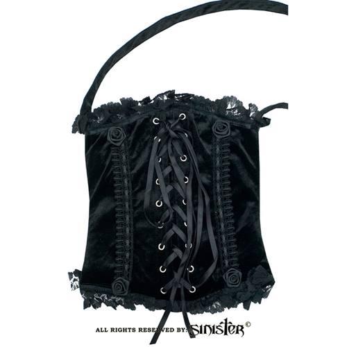 c88770c77d Sinister Corset velvet tote bag with lace detail black purple - Siniste