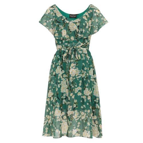 38d3f6ac8a6bb9 Agatha gebloemde jurk met split mouwen groen - Rockabilly Vintage 50 s