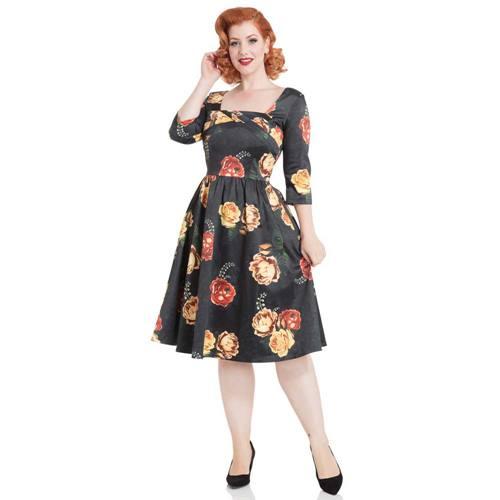 60d7034fa9c75f Meg gebloemde swing jurk zwart - Rockabilly Vintage Retro