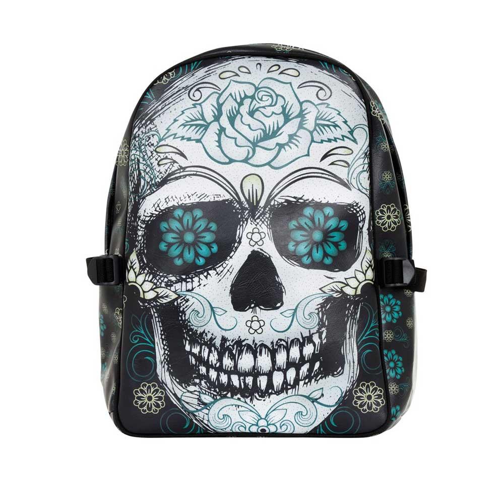 Blue Grunge Sugar Skull Print Sports Bag