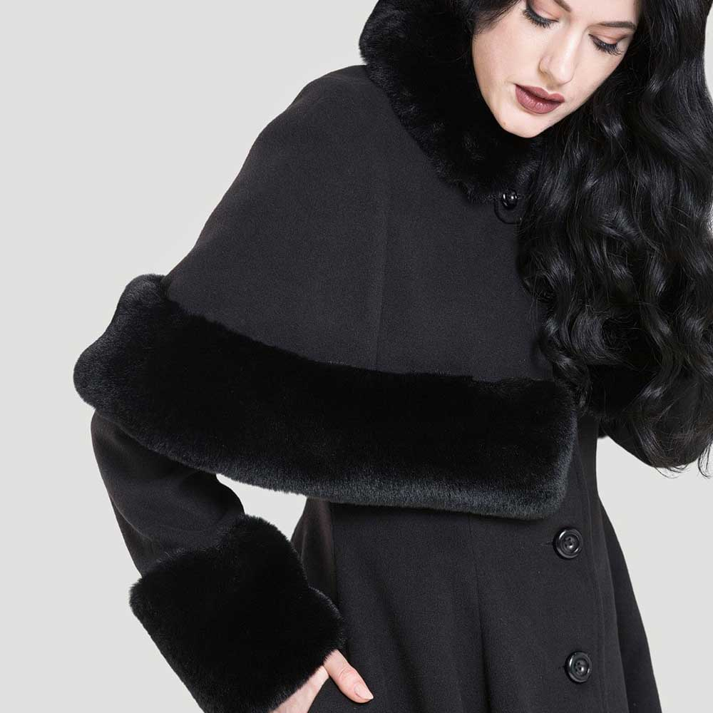 Hell Bunny Capulet winter jacket with detachable cape and fake fur black Vintage Rockabilly | Attitude Europe