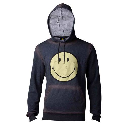 1855d55ac3193 Smiley Smiley - Acid Washed Smiley mens hoodie pullover with hood gray