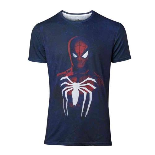 a5b5a5650fa Marvel Spiderman Heren Tshirt Acid Wash Blauw