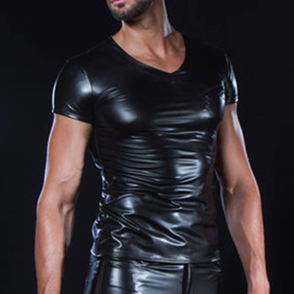 314638b7541 Patrice Catanzaro Matis wetlook men's T-shirt with V-neck black | Attit