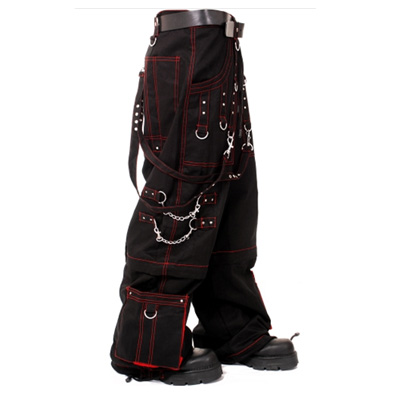 Gothic Dead Threads Pant Black Punk Buckle Zips Chain Strap Punk Trousers