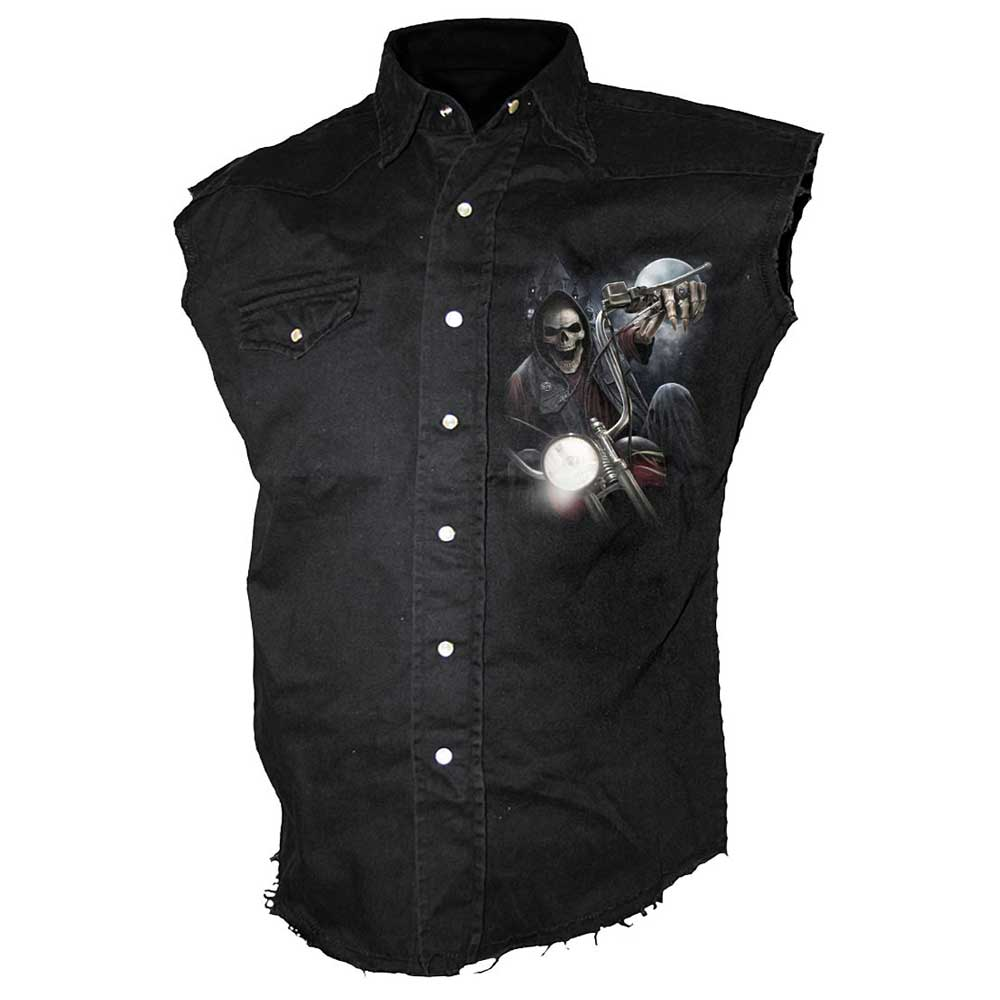 Spiral Viking Warrior Sleeveless Stone Washed Black Denim Shirt Special Order