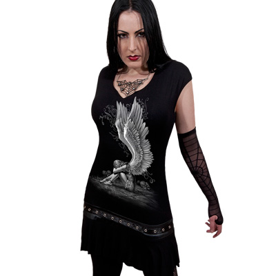 SPIRAL DIRECT  Stud Waist Mini Dress//Rock//Metal//Roses//Angel//Women//Girls//Top//Tee