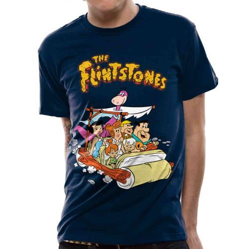 8a07edac4244 The Flintstones - Car heren unisex T-shirt blauw