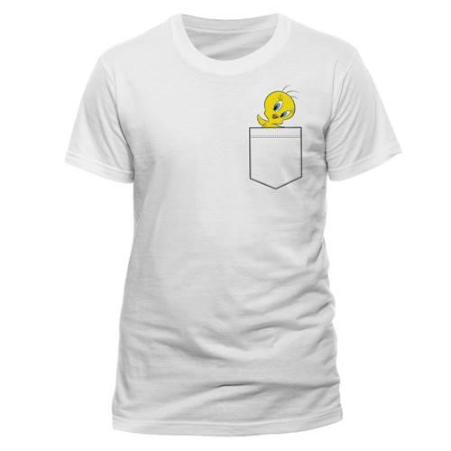 93befbda3 Looney Tunes - Tweety Pocket heren unisex T-shirt wit