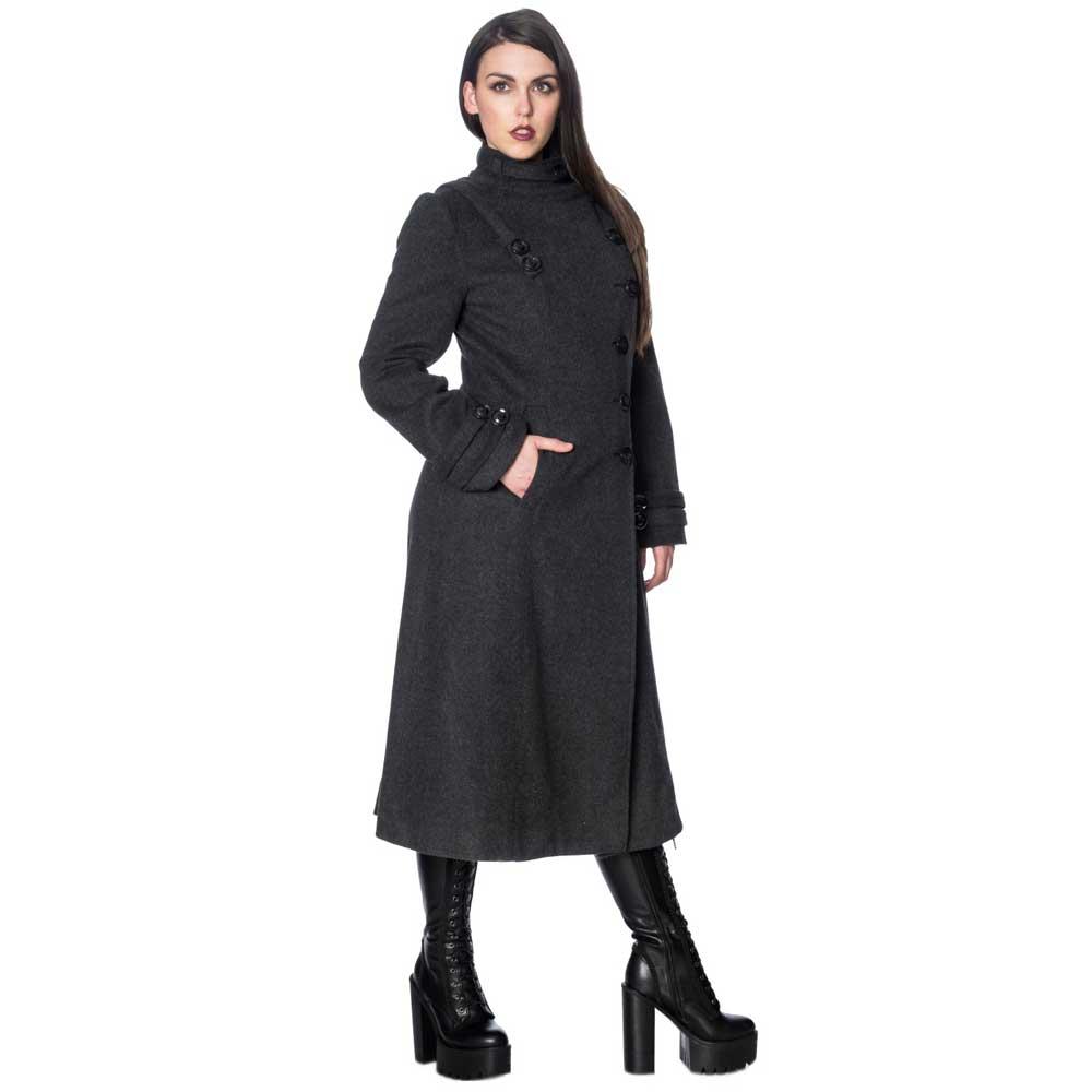 Dark Grey Gothic Vintage Retro Rockabilly Winter Industrial Coat Banned Apparel