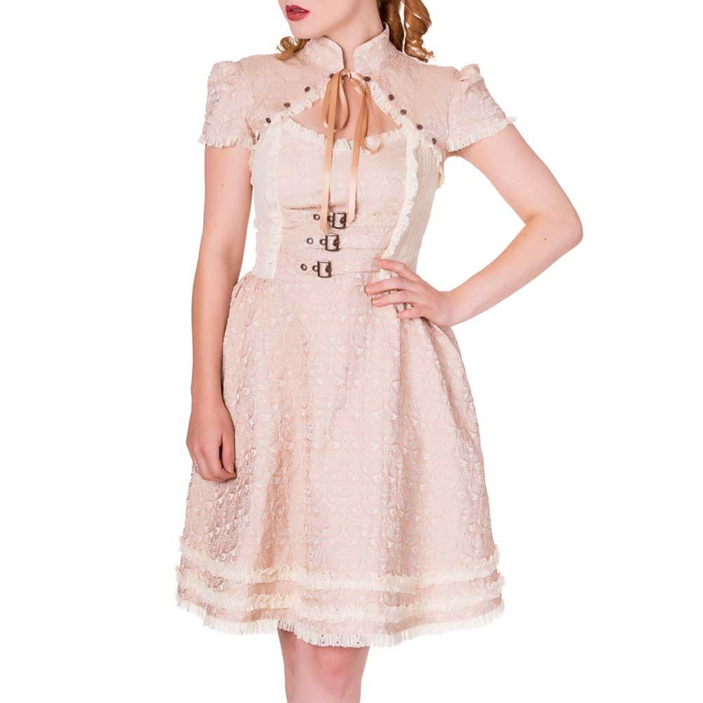 banned banned kurzes kleid rise of dawn beige/creme