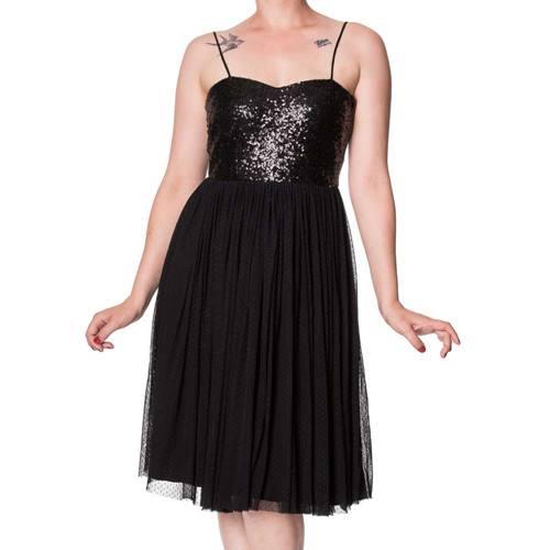 428f213dd88b7e Retro Love mini jurk met pailletten detail zwart