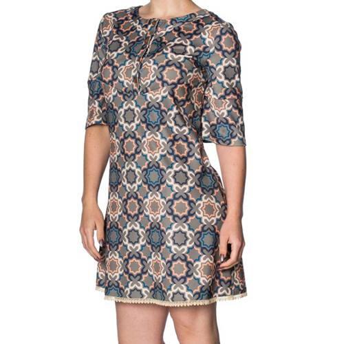 f4e726221fa2be 70s Tile korte jurk multicolours