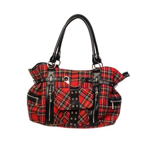 64050cb58791c Banned Tartan Handtasche mit Riemen schwarz und weiß - Emo Punk - Banne