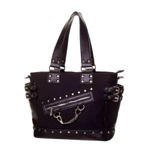 3d4b0033775 Handboeien handtas met gespen en studs zwart - Rock Metal - One size -  Banned