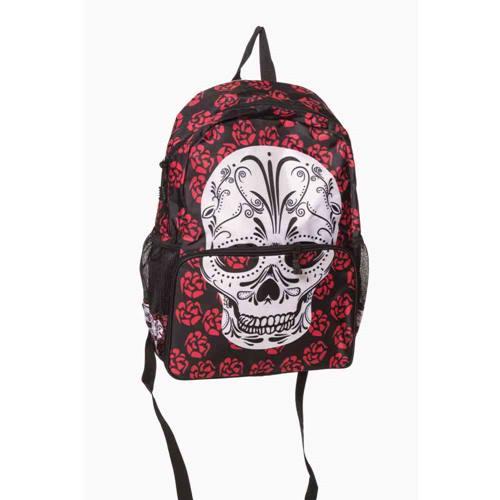bd4cd604019 Viera schedel met rozen rugtas zwart - One Size - Banned