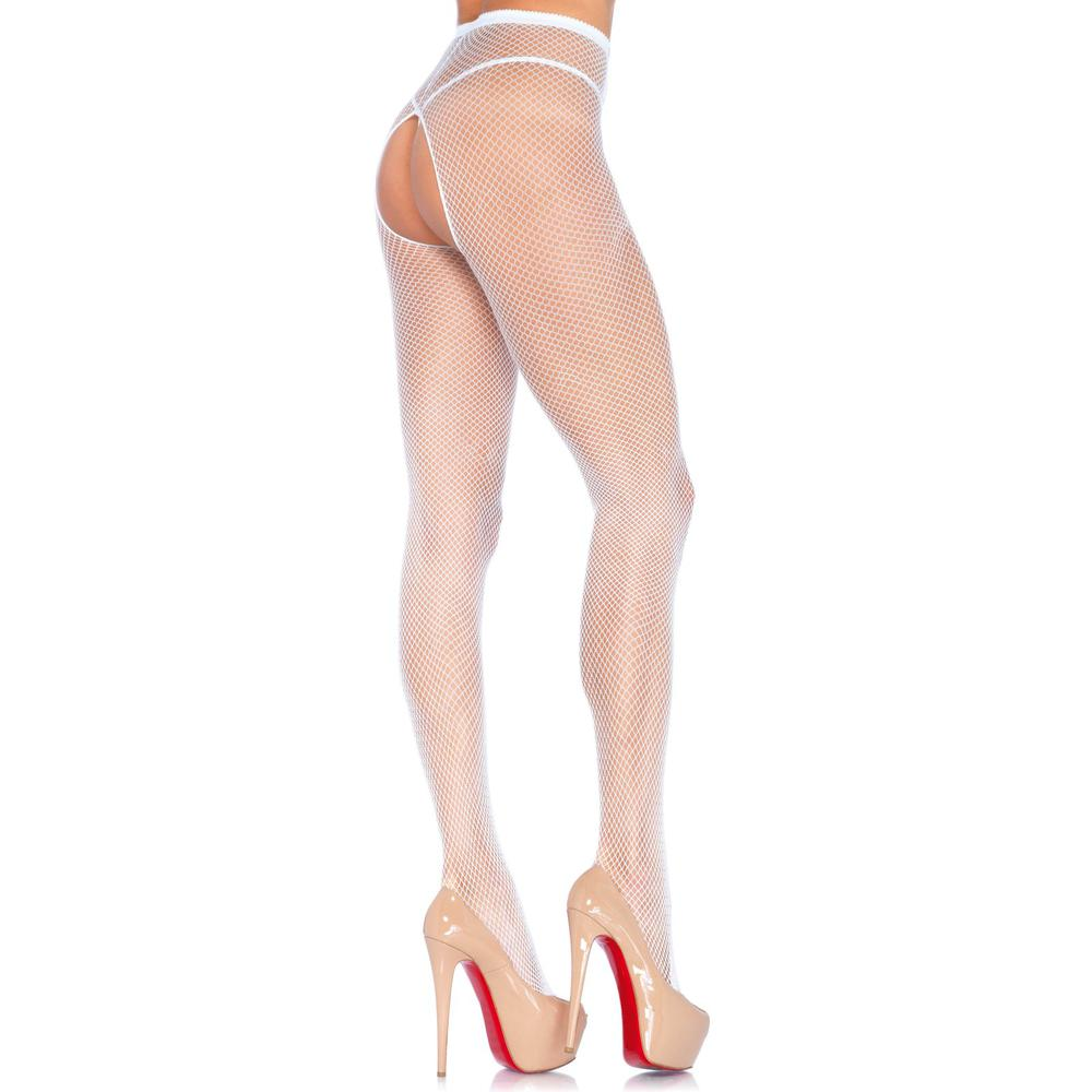 Crotchless Fishnet Pantyhose White One