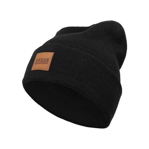 272f484664f Leren patch long beanie black - One Size - Urban Classics