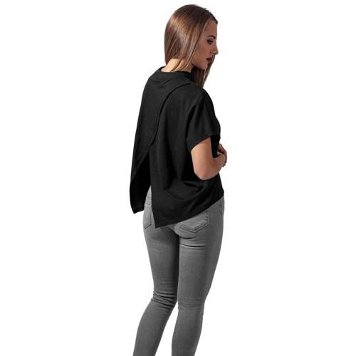 056a9f62f46 Women s overlapping shirt with high collar black