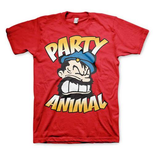 67f01e3a Popeye - Brutos Party Animal unisex T-shirt rood - Merchandise televisie  kinderserie - S