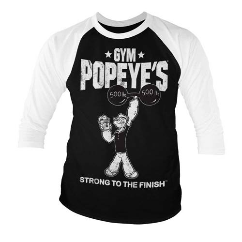 625c37379d35 Popeye - Strong To The Finish heren baseball shirt zwart/wit - Merchandise  televisie
