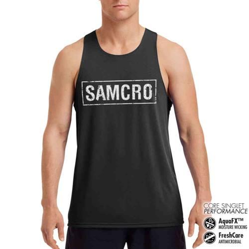e8cfe577024f Sons of Anarchy Tanktop SAMCRO Distressed Performance Zwart