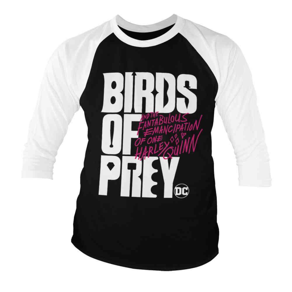 Dc Comics Dc Comics Harley Quinn Raglan Top Birds Of Prey Logo Black Wh