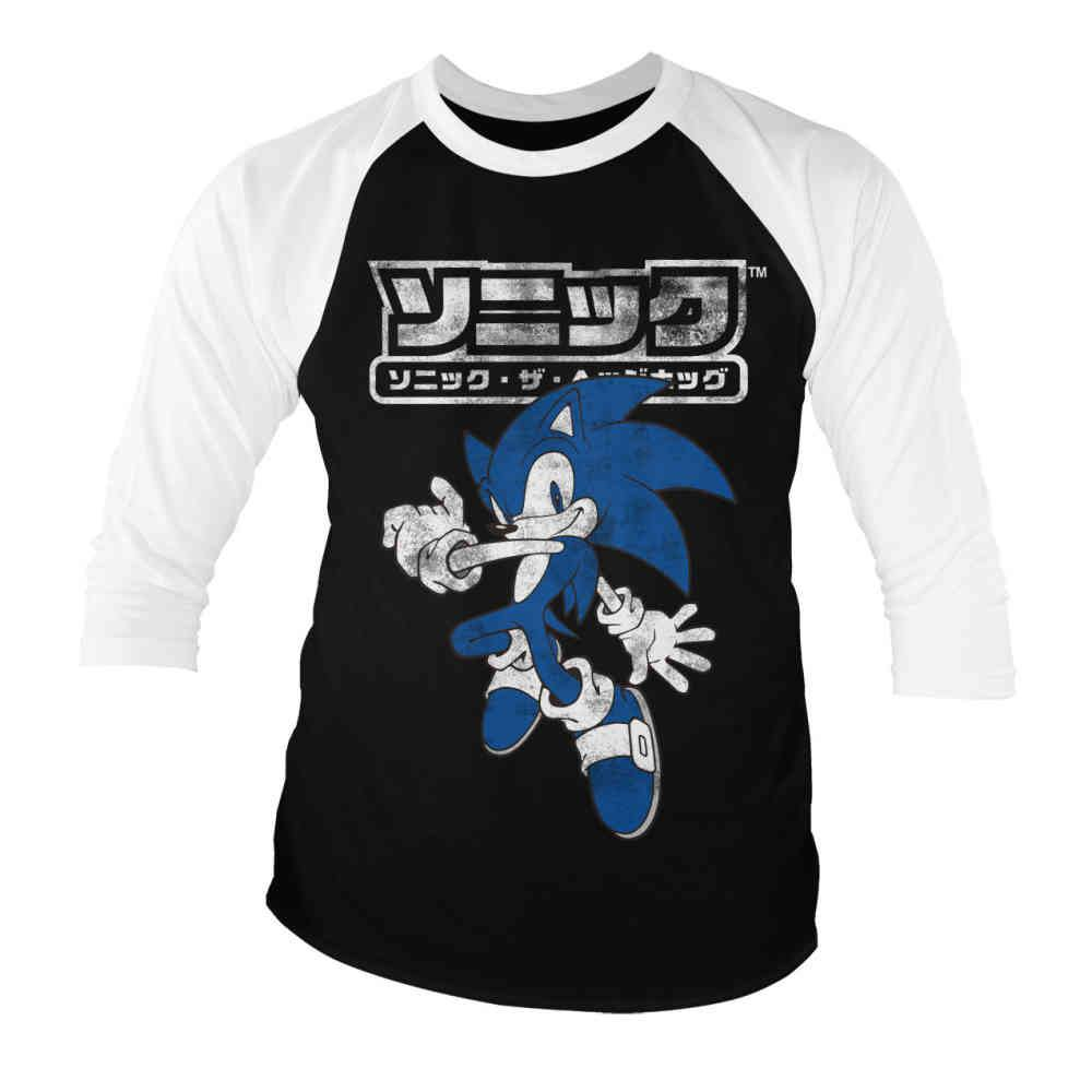 Sonic The Hedgehog Raglan Top Japanese Logo Black White Attitude Eur
