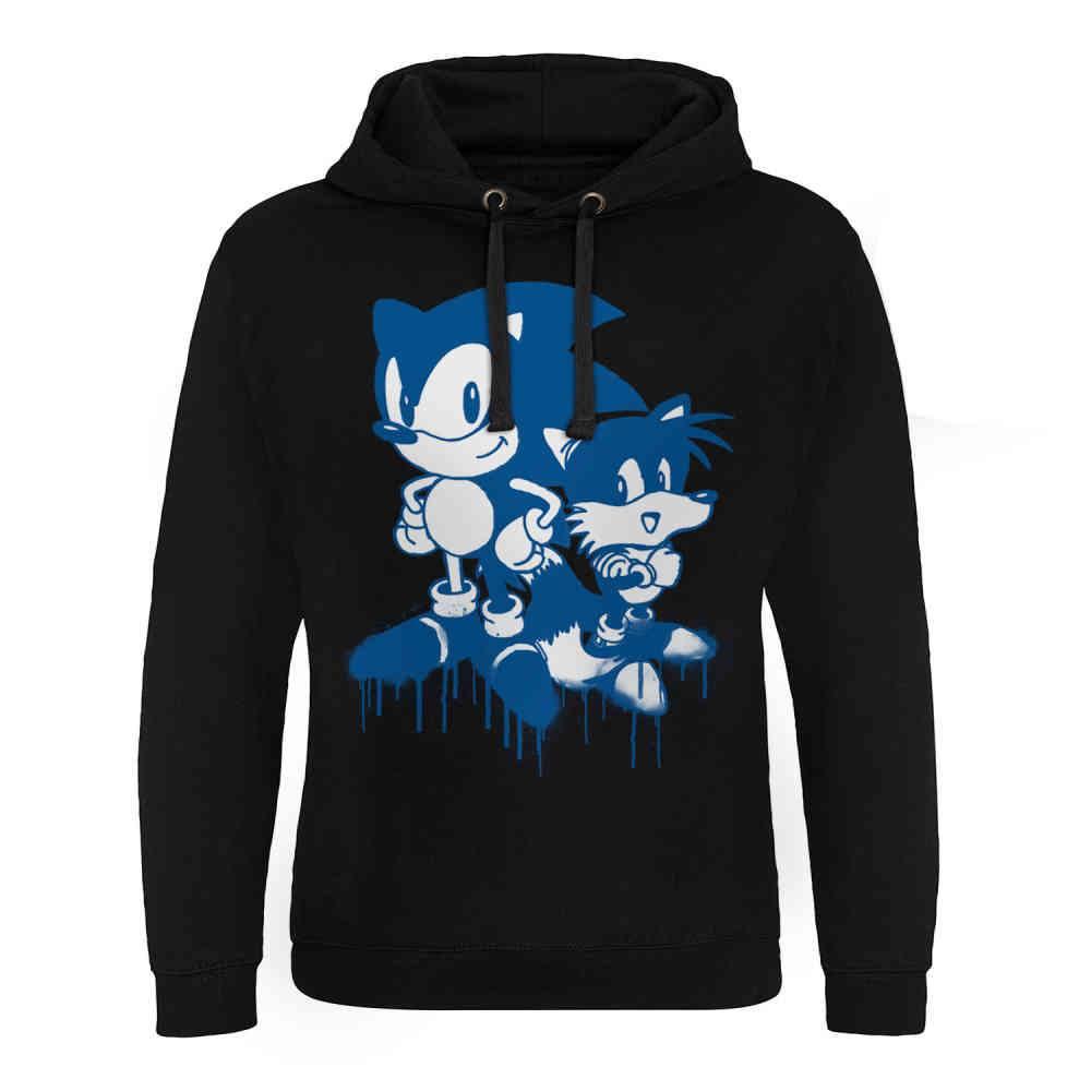 Sonic The Hedgehog Hoodie Sonic Tails Sprayed Black Attitude Europ