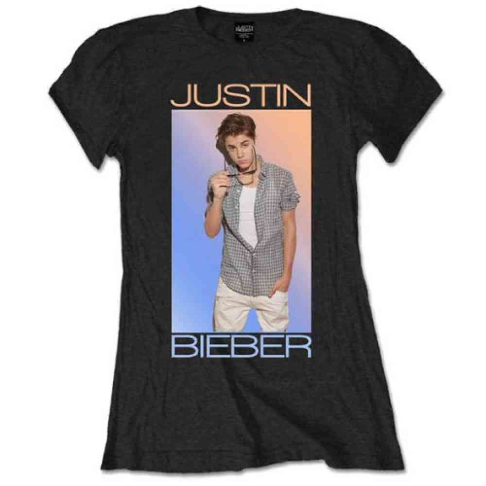Justin Bieber Color Fade ladies T shirt black | Attitude