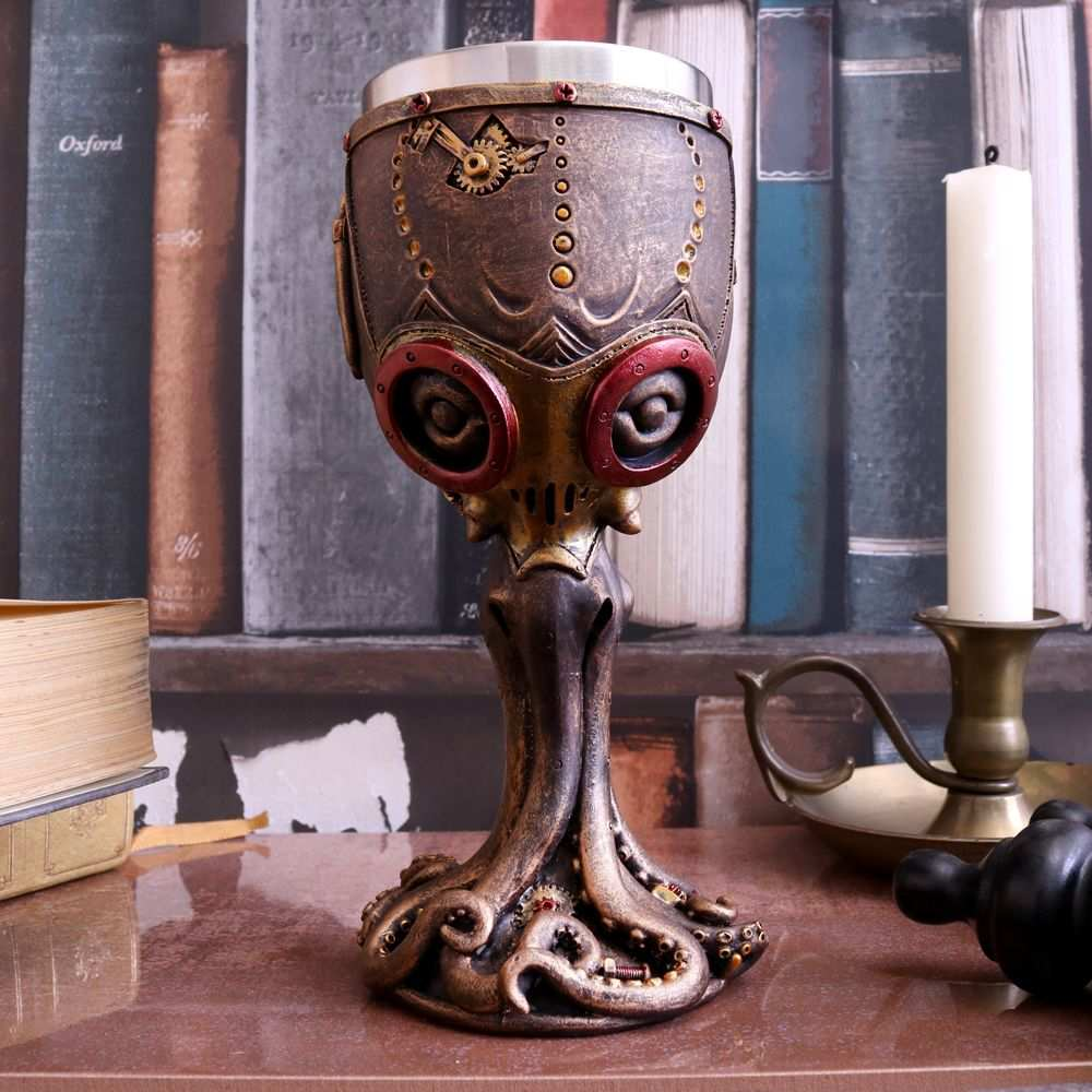 Collectible Mechanical Cephalopod Goblet Wine Chalice Steampunk Octopus Gothic