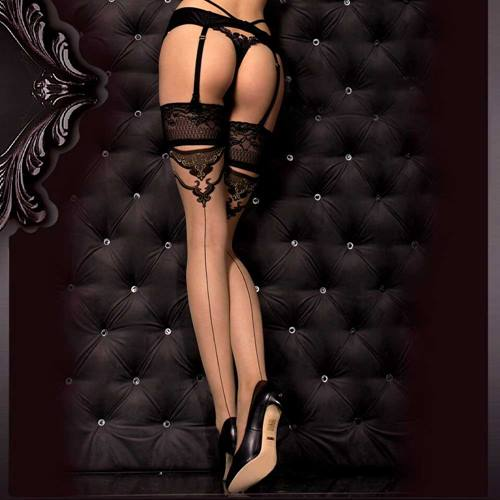 c50967b35389d Katrina lace upholstery stockings with baroque detail black / skin-colored