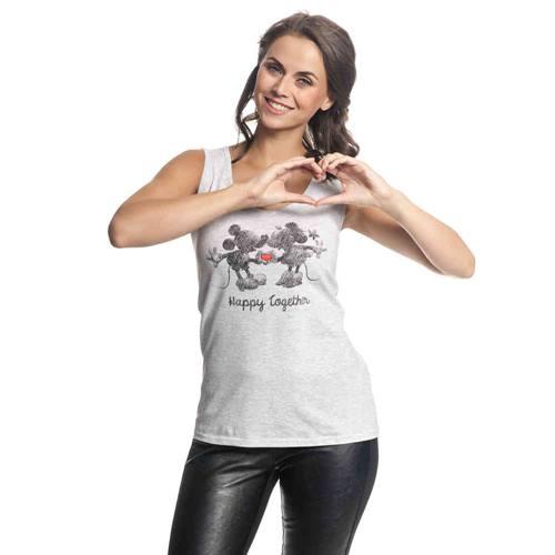 7b5db4d5e16 Mickey & Minnie Happy Female Tanktop grey-melange