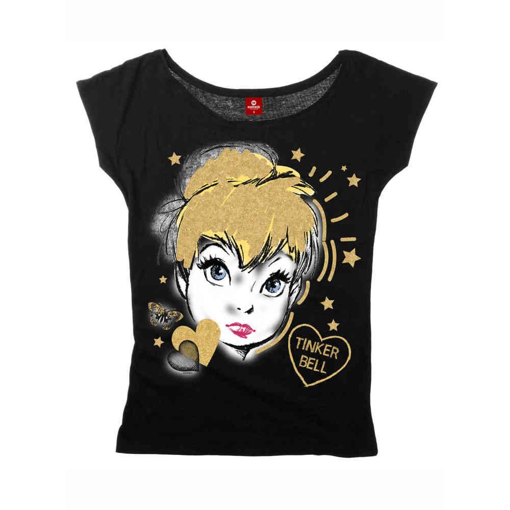 klassisch neuer Stil & Luxus beliebte Marke Tinkerbell Golden Tink Damen lose Hemd schwarz | Attitude Deutschland