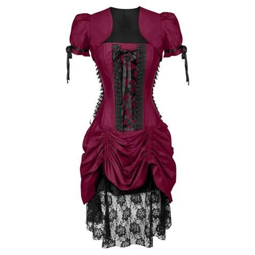 f4a67aa0e8daa0 Victoriaanse gedrapeerde korset jurk met bolero en kant magenta roze -  Gothic