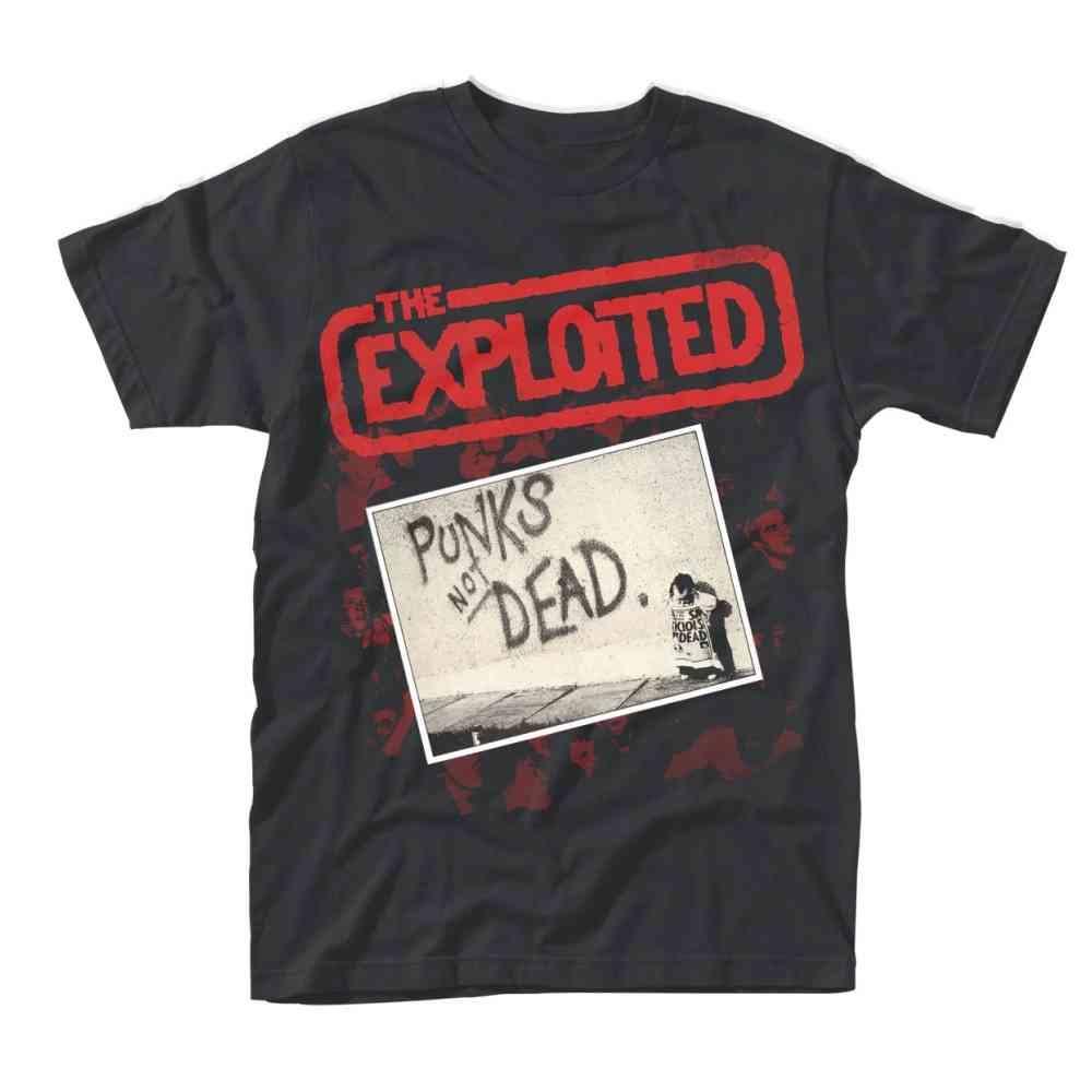 The Exploited Heren Tshirt Punks Not Dead Album Zwart Attitude Holla