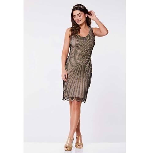 4cc17e009a298e Francesca Vintage flapper jurk huidskleur goud